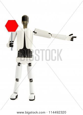 The Robot Shows A Sign And Specifies The Direction