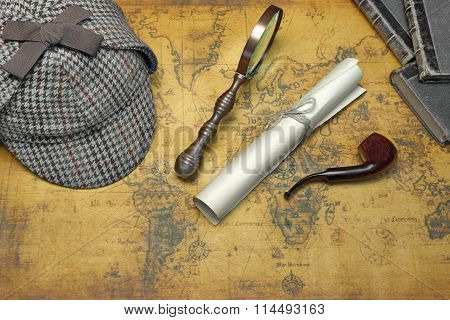 Private Detective Tools On The Old World Map Background. Items Include: Deerstalker Cap, Vintage Magnifying Glass, Manuscript, Smoking Pipe, Old Book. Overhead View poster