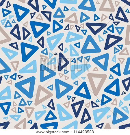 Vector Seamless Blue Colors Jumble Rounded Triangle Geometric Retro Pattern