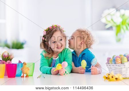 Kids With Colorful Easter Eggs