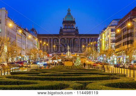 Bokeh photo of Wenceslas Square at night, Prague, Czech Republic
