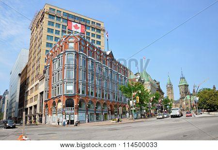 OTTAWA, CANADA - JULY 5, 2011: Historic Downtown Ottawa Elgin Street and Parliament in Ottawa, Ontario, Canada.