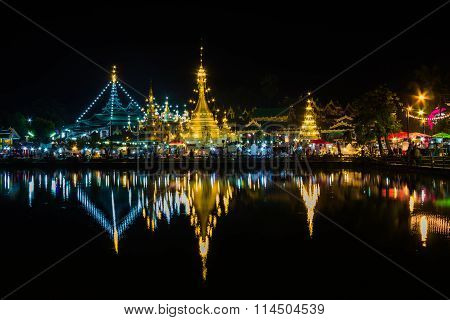 Pagoda white of Wat Chong Klang and Wat Chong Kham at dusk. Mae Hong Son Thailand