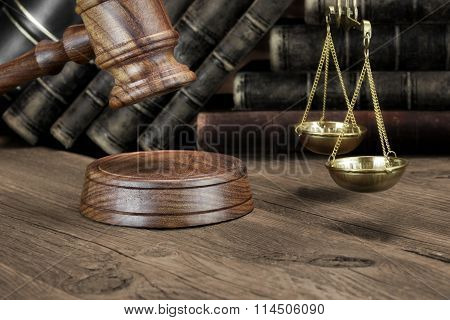 Jydges Gavel, Legal Code And Scales Of Justice Closeup