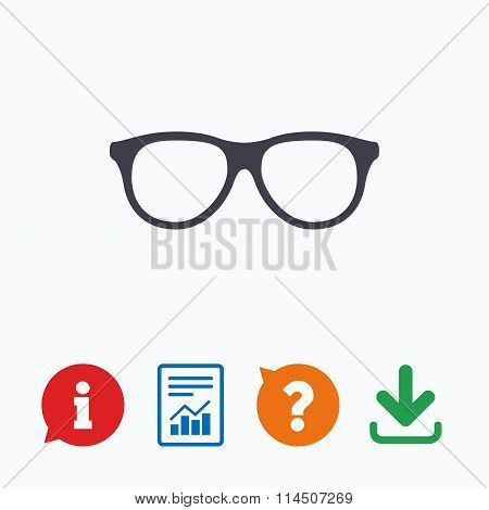 Retro glasses sign icon. Eyeglass frame symbol.