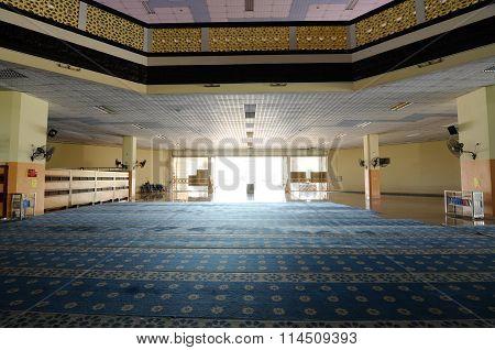 Interior of Malaysia Putra University Mosque or Masjid UPM at Serdang, Selangor, Malaysia