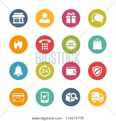E-Shopping Icons // Fresh Colors Series ++ Icons and buttons in different layers, easy to change colors ++
