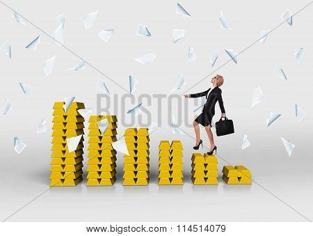 Woman Walking On Chart Of Gold Bullion