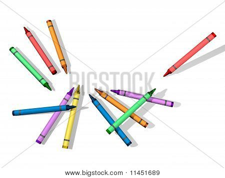 Crayons with Blank Background