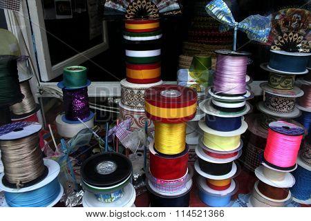 Shiny Satin Ribbons At Traditional Notions Store