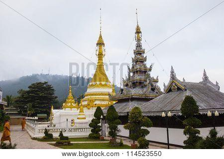 Pagoda white of Wat Chong Klang Mae Hong Son Thailand