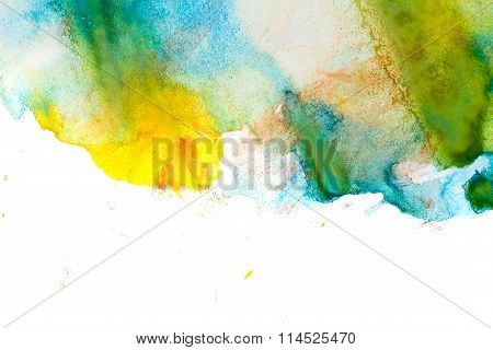 Yellow, Turquoise, Green Abstract Watercolor.