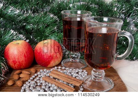 Glasses With Christmas Mulled Wine