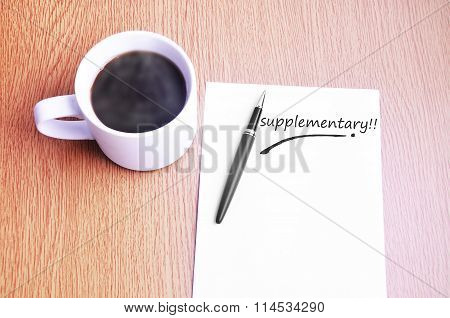 Black Coffee pen and notes write supplementary. poster
