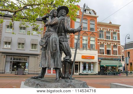 Monument Of Kenau Simonsdochter Hasselaer And Wigbolt, Baron Ripperda In Haarlem, The Netherlands.