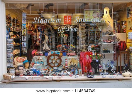 Lots Of Souvenirs In The Window Of The Popular Gift Shop In Centre Haarlem, The Netherlands