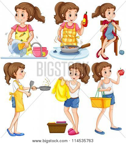 Housewife doing different chores illustration