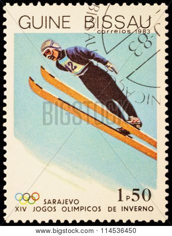 Flying Skier On Post Stamp