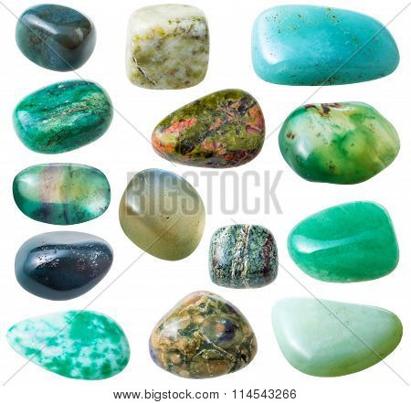 Set From 15 Pcs Green Gemstones Isolated