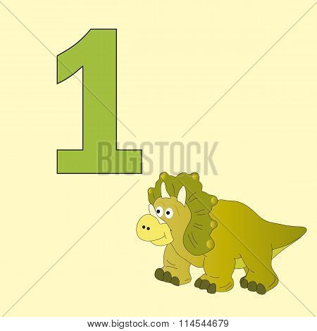 Number One. One Dinosaur (triceratops).