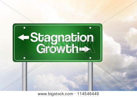Stagnation Or Growth Green Road Sign, Business Concept