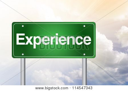 Experience Green Road Sign, Business Concept