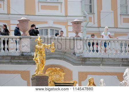 Peterhof. Russia. People near The Grand Palace