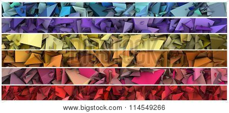 Banner 3D Abstract Modern Sculpture In Bright Color