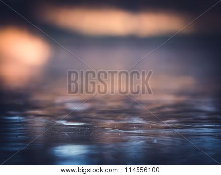Frozen Pond Abstract Colorful Blur Ice Background