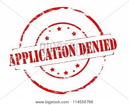 Rubber stamp with text application denied inside vector illustration