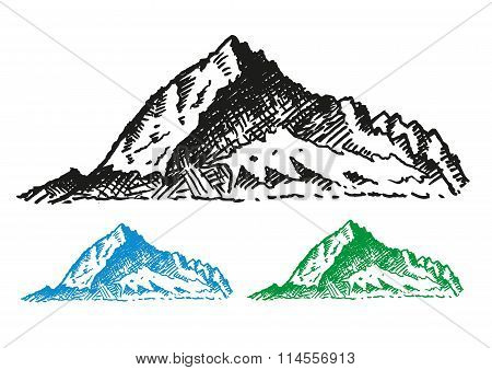 Hand Drawn Style of Mountain Ranges or summit. Editable Clip Art.