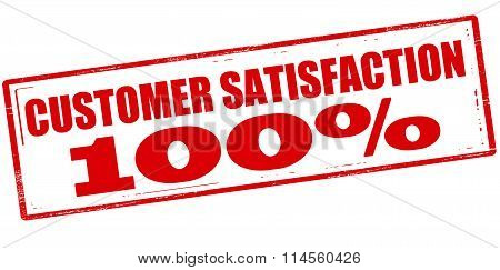 Rubber stamp with text customer satisfaction one hundred percent inside vector illustration