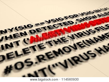 Alert. Virus Detection Text In Computer Abstract Script Code