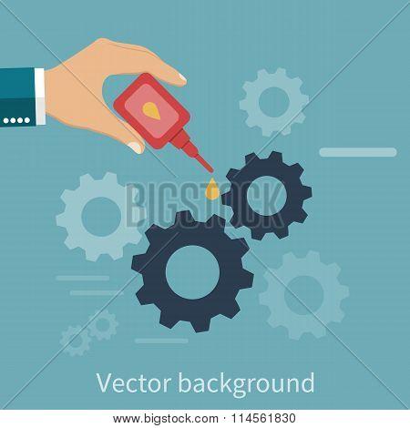 Hand Engineer Lubricating Gears