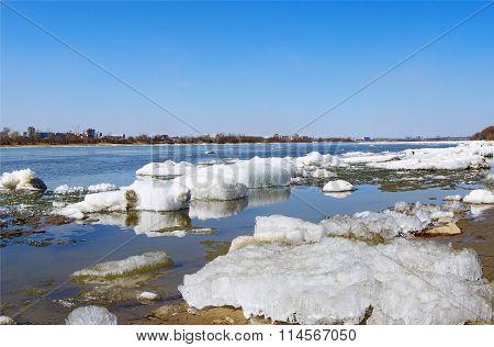 spring ice debacle on river closeup