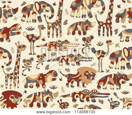 Seamless background with colorful stylized animals Africa