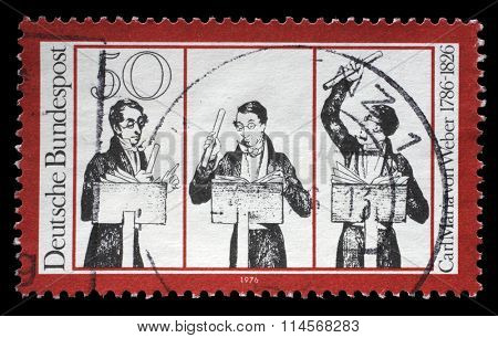 GERMANY - CIRCA 1976: A stamp printed in German Democratic Republic (East Germany) honoring Carl Maria von Weber, shows musicians, circa 1976