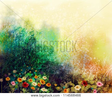 Abstract Wildflowers, Watercolor Painting Flower In Meadows