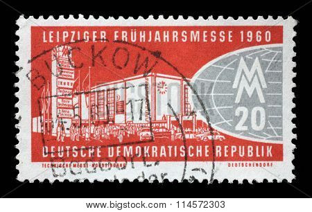 GDR - CIRCA 1960: a stamp printed in GDR shows Leipzig Fair, circa 1960