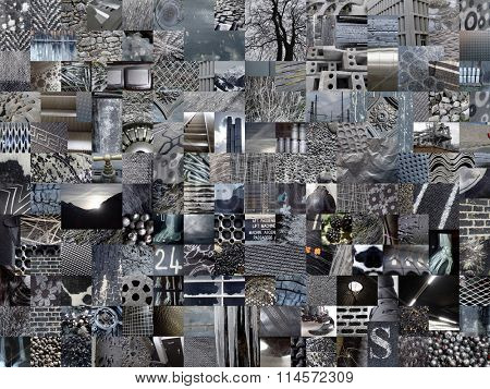 DARK GREY patchwork photo montage background