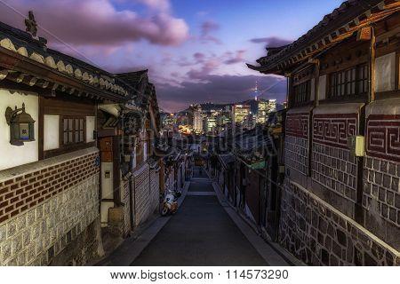 Bukchon Hanok Village At Sunset