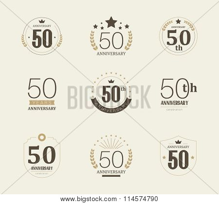 Fifty years anniversary celebration logotype. 50th anniversary logo collection.