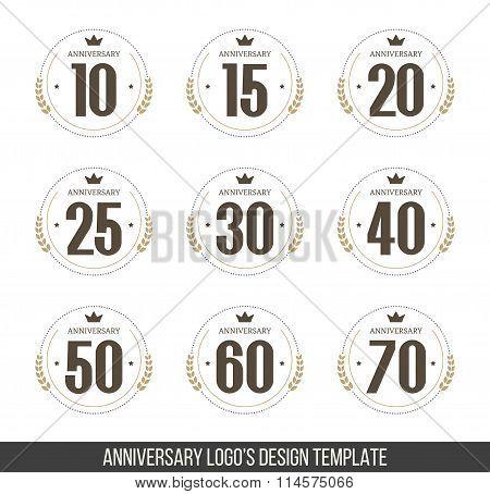 Vector set of anniversary signs, symbols. Ten,fifteen, twenty, twenty five, thirty, forty, fifty, si