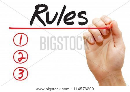 Hand Writing Rules List, Business Concept..