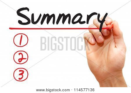 Hand Writing Summary List, Business Concept..