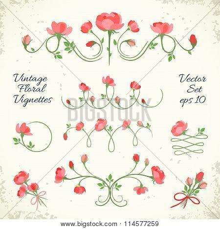 Set Of Vintage Floral Vignettes. Vector Illustration, Eps10.