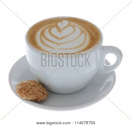 cappuccino heart design in a white cup with cookie isolated
