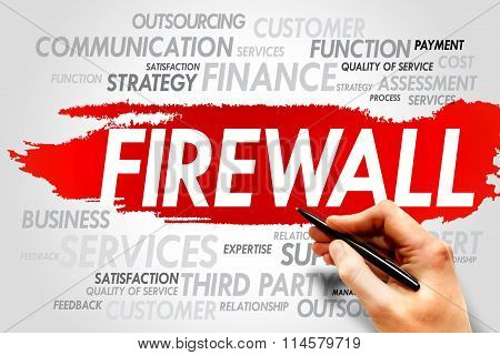 FIREWALL word cloud business concept, presentation background poster