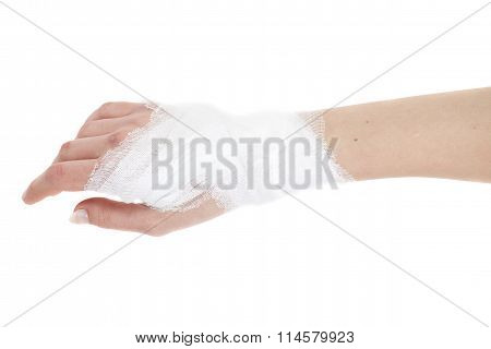 Injured Hand With Bandage, Isolated