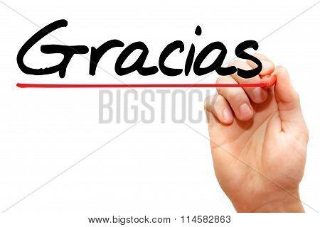 Hand Writing Gracias, Business Concept..